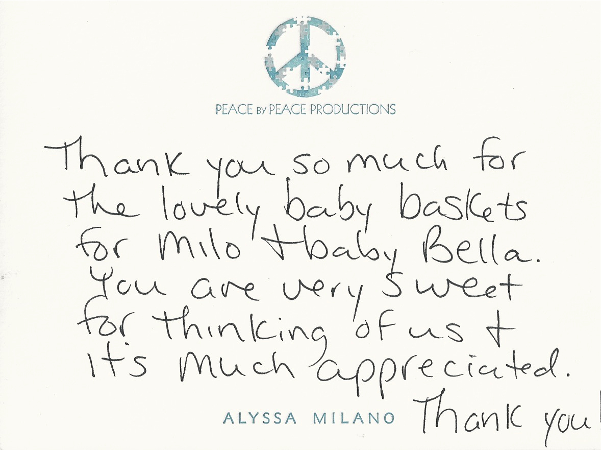 Alyssa Milano Sends A Note Of Thanks Hollywood Swag Bag